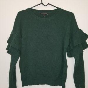 Banana Republic green ruffle sleeve sweater